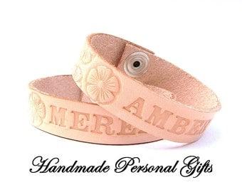 Leather bracelet, name, text, name bracelet,bracelet name,custommade