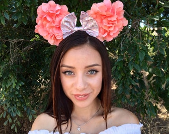 Pink coral mermaid scale floral minnie mouse ears