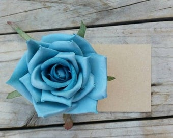 Blue Rose Silk Flower Hair Pin. Bobby Pin. Something Blue.