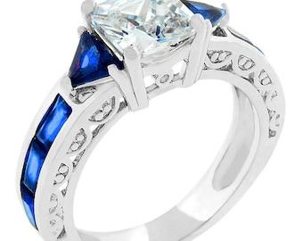 Sapphire Blue Cubic Zirconia Regal Ring
