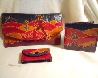 Vintage leather western theme wallet set