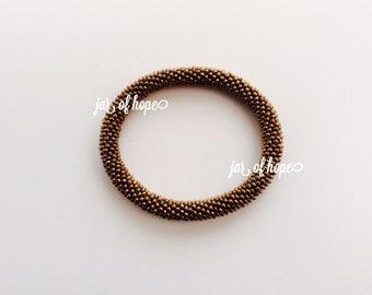 Nepal Handmade Beaded Roll On Bracelet Gift Birthday Bronze Brown Solid
