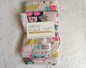 Bib & Burp Cloth Gift Set - Baby Girl Bib - Burp Cloth - Owls - Umbrellas - Bibs - Burp Cloths -  Pink, Blue, Green and Gray - Burp Rag