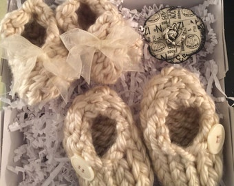 Two Baby knitted Booties