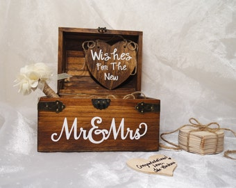 Wishes For The New Mr. & Mrs. Wood Heart Guest Book, Unique Wedding Guest Book, Guest Book Alternative, Rustic Guest Book, Guest Book Chest