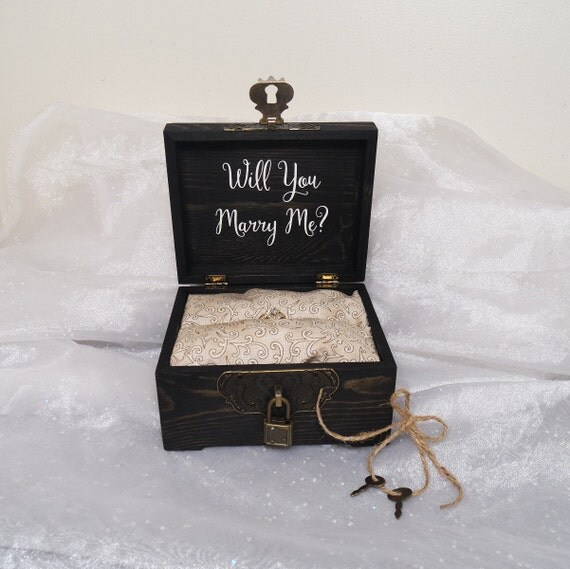 will you marry me ring box ring box w lock amp key antiqued