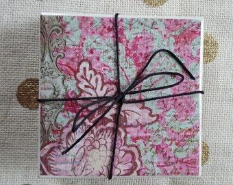Handmade Tile Coasters - Pink and Teal Flower Print
