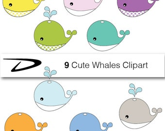Baby whale clip art – Etsy