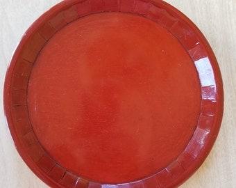 Vintage Red-Orange Wooden Plate