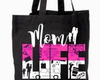 Tote bag, mom bag, market bag, canvas tote, mommy bag, diaper bag, custom mom purse, grocery bag, mom life