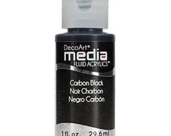 DecoArt Media Fluid Acrylics, Carbon Black, 1 oz bottle, Decoart
