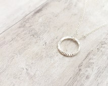 Organic Circle Necklace in Sterling Silver
