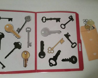 File Folder Game, Matching Activity, Preschool, Kindergarten, Laminated with Velcro, Keys, Travel Activity