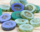 15pcs 14x11mm Ocean Mix Picasso Oval with Starburst Table Cut Czech Glass Beads, beach glass colors, summer ocean breeze beads