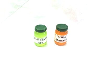 Dollhouse Kitchen Miniatures Jelly Jars with Labels Set of 2 - 1/12  Dollhouse Supply