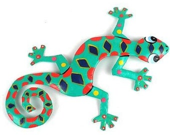 Eight Inch Spotted Metal Gecko