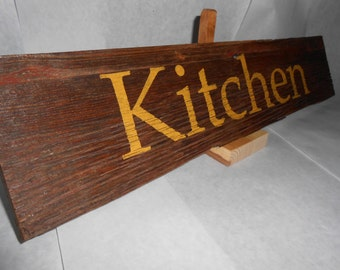 """Rustic Weathered Reclaimed Barnwood Kitchen Sign - 20"""" x 4.5"""""""