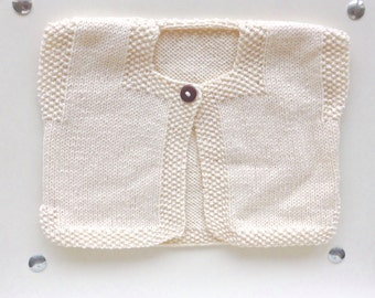 Lovely cardigan unbleached organic cotton for little girl