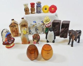 Vtg Lot of Salt & Pepper Shakers, 6 pairs + 7 Singles - Ceramic, Wood, Metal