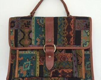 Vintage Tapestry Patterned Satchel Briefcase Hand Bag