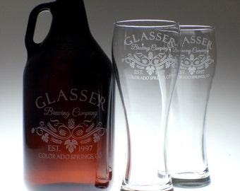 Personalized Beer Growler & 2 glass set with Hop Leaf Brewing art , wedding gift , personalized growler, custom Beer Glass, Beer Gift, Beer