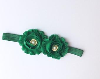 baby girl headband; green baby girl headband; green headband; baby headband