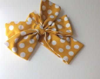 Baby headwrap; baby headband ; mustard dot fabric head wrap; newborn headband; baby headband; toddler headband; adult headband; girl