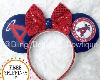 Anaheim Angels Baseball Minnie Mouse Ears Headband Disney Los Angeles