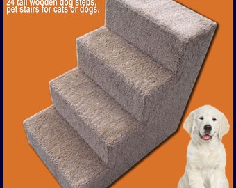24 Tall Wooden Dog Steps, Pet Stairs For Dogs Or Cats.