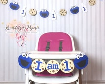 Cookie Monster banner for high chair, milk and cookies banner, Cookie monster birthday banner, sesame street birthday banner