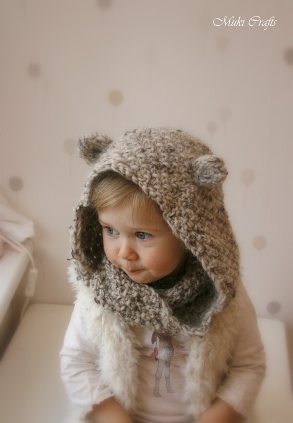 Knitting Pattern Child Infinity Scarf : KNITTING PATTERN hooded infinity scarf Willow child by ...