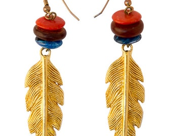 Earrings vintage feathers