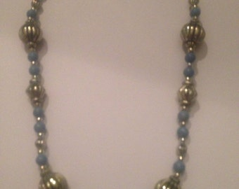 Silver and Blue Bead Necklace Costume Jewelry