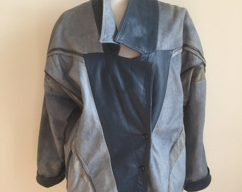 80's blue-toned patchwork leather oversized jacket