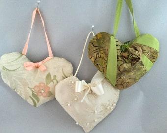 Handcrafted, heart-shaped, lavender filled hanging sachet