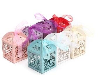 10 pcs Kraft Chocolate Candy Box Birdscage Cupcake Sweets Cake Favour Wedding Candy Gift
