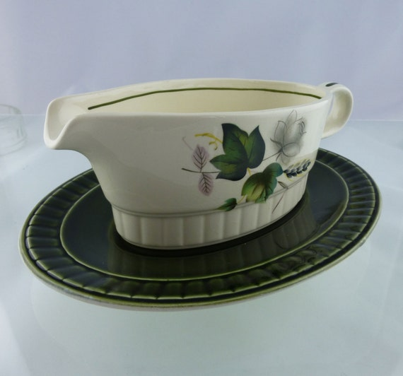 Vintage Green 1950s Palissy 'Sandon Rose' Sauce and Gravy Jug with Dish