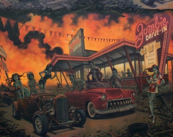 Zombie Drive Inn Cotton Woven Fabric by Alexander Henry