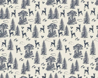 Woodland Friends Navy Cotton Fabric by Riley Blake