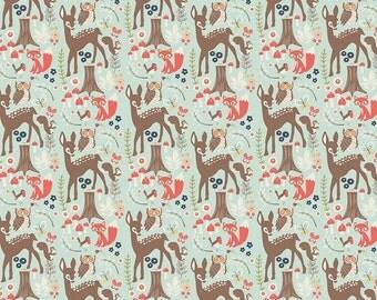 Woodland Spring Main Aqua Cotton Fabric by Riley Blake