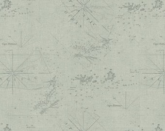 Seafoam Map Cotton Fabric, Drift Away, Windham Fabrics