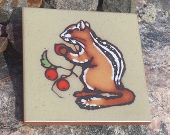 Squirrels Love Nuts! Vintage Tile~Artist Cleo Teissedre~Kiln Fired Pottery~Squirrel Eating Berries~Animal Tile Coaster Trivet Wall Decor.