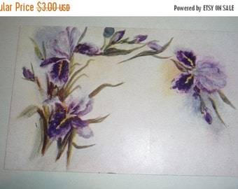 on sale Pretty Purple Bearded Iris Antique Postcard