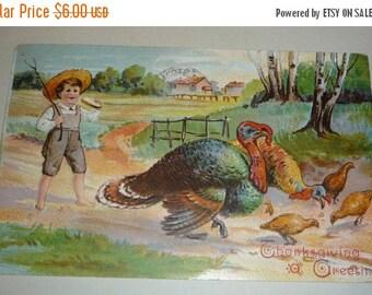 on sale Cute Little Boy and Turkeys Antique Thanskgiving Postcard