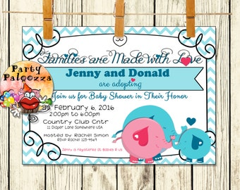 PrintableElephant Adoption Baby Shower Invitation