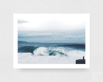 ocean beach photograph - coastal surf decor - minimalist wave - wall art - landscape - square prints | LARGE FORMAT PRINT