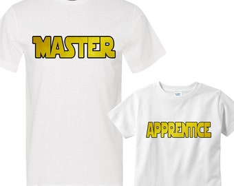 Master - Apprentice White Shirts Daddy and Me Shirt Set