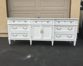 White And Gold Mid Century Modern Dresser, Tv Stand, Credenza, Buffet,