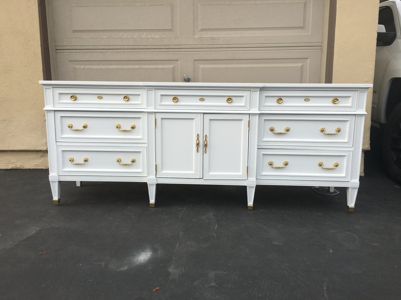 white and gold mid century modern dresser tv stand credenza. Black Bedroom Furniture Sets. Home Design Ideas