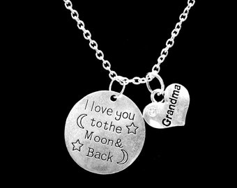 I Love You To The Moon And Back Grandma Gift Grandmother Charm Necklace